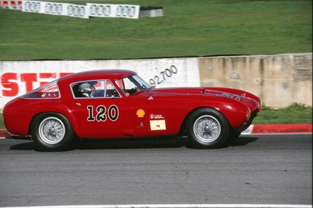 Probably Jean Sage's most famous Ferrari, the ex-Maglioli factory 375MM seen with Jean at the wheel at Vallelunga in one of the Ferrari Historic Challenge events he organised.