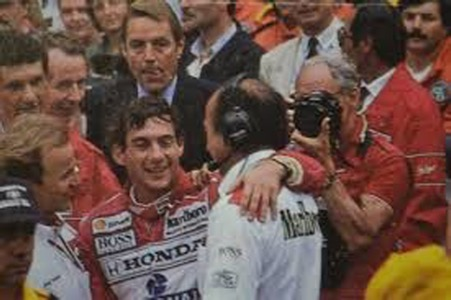 A happy day at Monaco with Jo's great hero, Ayrton Senna during his great days with McLaren. ( Ramirez Archives)