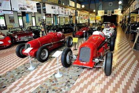A general view of the Panini museum just outside Modena with some of the rare and original Maseratis