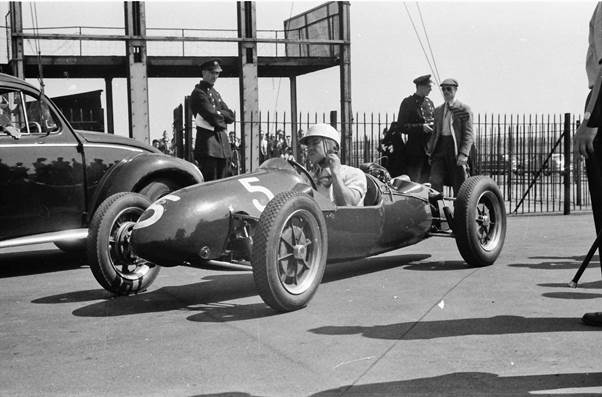 Jim Russell with his Cooper 500, Aintree 1955.