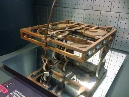 This is a model made up from Leonardo da Vinci's original drawing for a spring operated engine