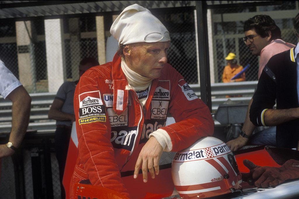 McLaren-Ford driver Niki Lauda in the pits before the 1982 Monaco Grand Prix. Photo: Grand Prix Photo