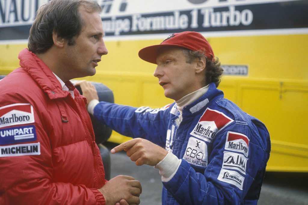 McLaren-Ford team principal Ron Dennis and Niki Lauda during the 1983 season. Photo: Grand Prix Photo
