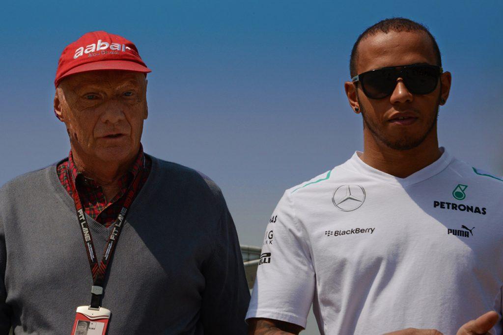 Niki Lauda and Lewis Hamilton (Mercedes) before the 2013 Chinese Grand Prix i Shanghai. Photo: Grand Prix Photo