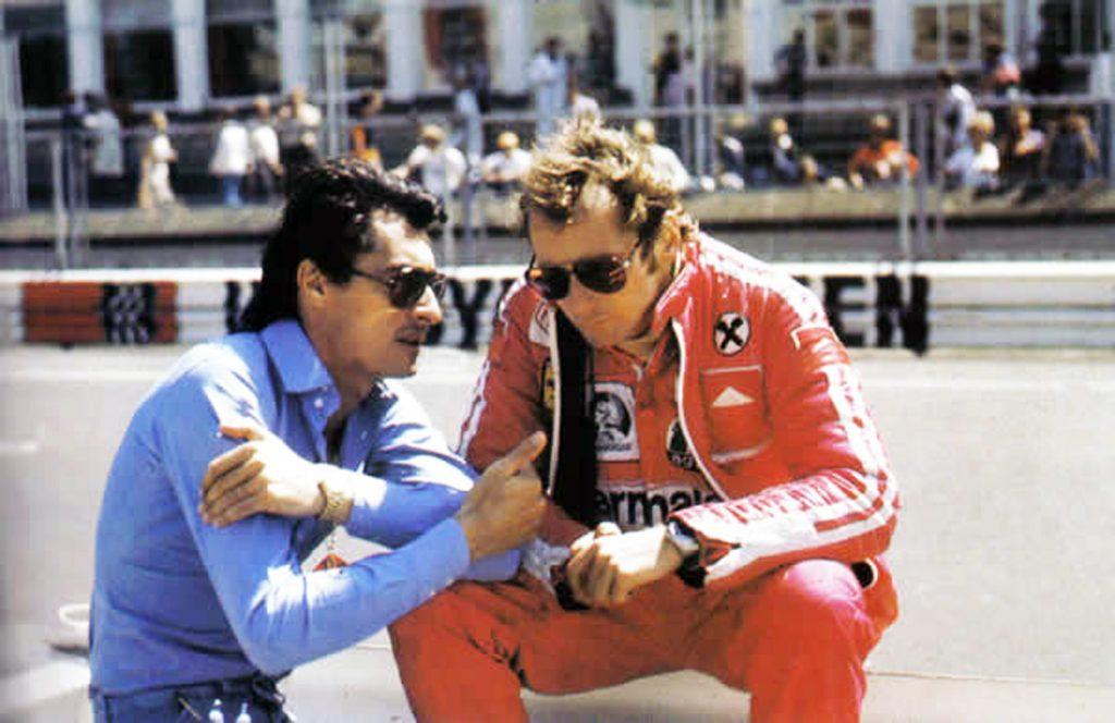Daniele Audetto, left, with Niki Lauda