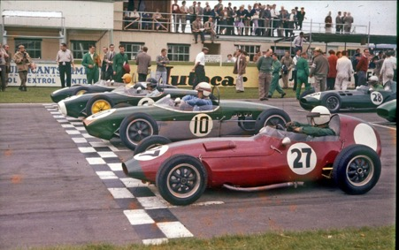 Goodwood 1960. Peter Arundell is in the foreground in his Elva Junior with Mike McKee in his Lotus 18, Jim Clark (Lotus 18) and Trevor Taylor ( Lotus 18)