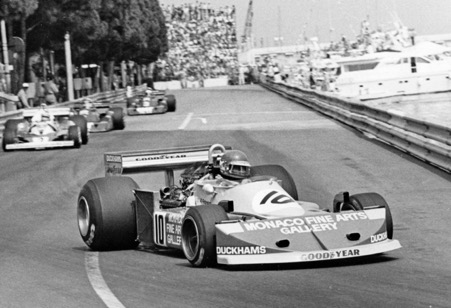 Ronnie Peterson in the March at Monaco with the Monaco Fine Arts sponsorship