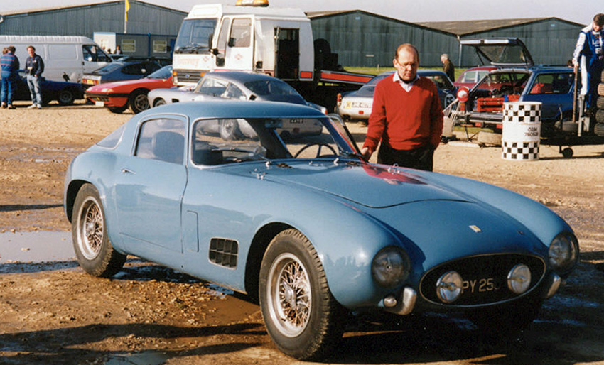 The de Portago 250GT (s/n 0557GT) at Silverstone being admired by fellow Ferrari collector Sir Paul Vestey.